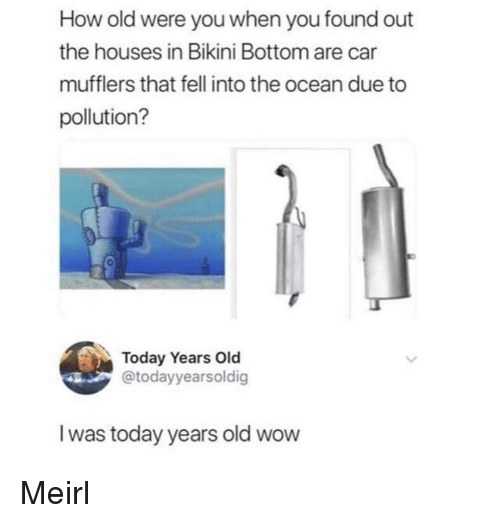 Wow, Bikini Bottom, and Bikini: How old were you when you found out  the houses in Bikini Bottom are car  mufflers that fell into the ocean due to  pollution?  Today Years Old  @todayyearsoldig  I was today years old wow Meirl
