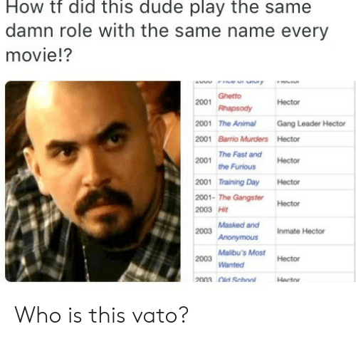 ghetto: How tf did this dude play the same  damn role with the same name every  movie!?  ew r uny  Ghetto  2001  Hector  Rhapsody  2001 The Animal  Gang Leader Hector  2001 Barrio Murders Hector  The Fast and  2001  Hector  the Furious  2001 Training Day  Hector  2001- The GangsterHector  2003 Hit  2003 Masked and  Anonymous  Inmate Hector  Malibu's Most  2003  Hector  Wanted  2003 Old School  Hector Who is this vato?