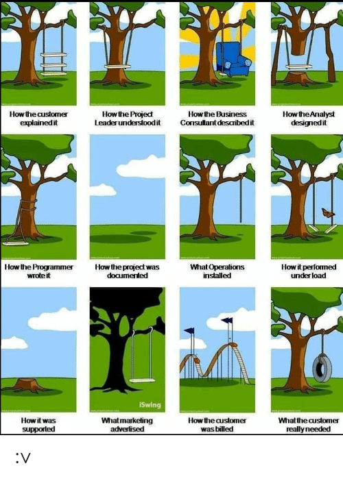 Business, How, and Project: How the Analyst  designedit  How the Project  Leaderunderstoodit  How the Business  Consultant desaribedit  How the customer  explainedit  Howit performed  underload  Howthe project was  documented  How the Programmer  wrote it  What Operations  installed  iSwing  Whatmarketing  advertised  How the customer  How it was  Whatthe customer  was billed  supported  really needed :v