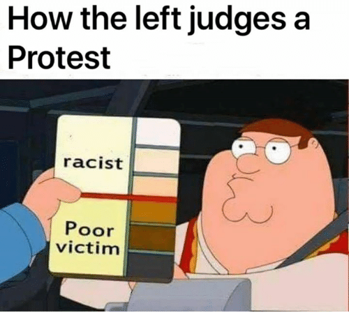 Memes, Protest, and Racist: How the left judges a  Protest  racist  Poor  victim