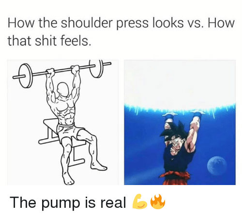 Shit, How, and Real: How the shoulder press looks vs. How  that shit feels. The pump is real 💪🔥