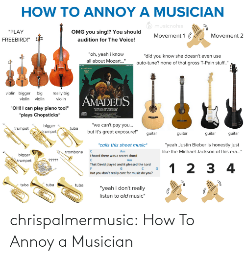 "Bigger: HOW TO ANNOY A MUSICIAN  O musicnotes  ""PLAY  OMG you sing!? You should  Movement 1 (  Movement 2  audition for The Voice!  FREEBIRD!""  ""oh, yeah i know  ""did you know she doesn't even use  all about Mozart..""  auto-tune? none of that gross T-Pain stuff.""  AMADEUS  MORE  violin bigger big  really big  AMADEUS  violin violin  violin  ""OH! I can play piano too!""  ACADO O SE MARTINNTHELOS  SIR NEVILLE MARRINER  *plays Chopsticks*  ""we can't pay you...  bigger  egn  but it's great exposure!""  trumpet  trumpet  guitar  guitar  guitar  guitar  *calls this sheet music*  ""yeah Justin Bieber is honestly just  like the Michael Jackson of this era...""  Am  trombone  bigger  I heard there was a secret chord  ?????  Am  trumpet  That David played and it pleased the Lord  1 2 3 4  But you don't really care for music do you?  tuba  tuba  tuba  ""yeah i don't really  listen to old music"" chrispalmermusic:  How To Annoy a Musician"