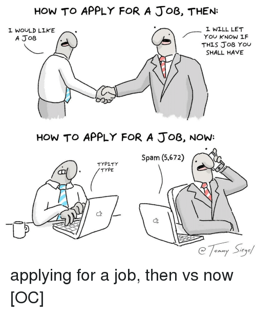How To, How, and Job: HOW TO APPLY FOR A JoB, THEN:  L WOULD LIKE  L WILL LET  YOU KNOW LF  THIS JoB YOU  SHALL HAVE  A JoB  HOW TO APPLY FOR A JoB, NOW:  TYPITY  TYPE  Tr Spam (5,672)  C2  onm applying for a job, then vs now [OC]