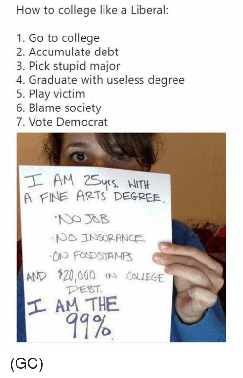 "College, Memes, and How To: How to college like a Liberal:  1. Go to college  2. Accumulate debt  3. Pick stupid major  4. Graduate with useless degree  5. Play victim  6. Blame society  7. Vote Democrat  A FINE ARTS DEGREE  AND $20,000 ""s Cou  PEST  11% (GC)"