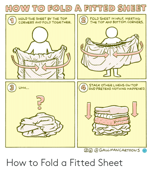 Fitted: HOW TO FOLD A FITTED SHEET  2  FOLD SHEET IN HALF, MEETING  THE TOP AND BOTTOM CORNERS  HOLD THE SHEET BY THE TOP  CORNERS AND FOLD TOGETHER  1  STACK OTHER LINENS ONTOP  4AND PRETEND NOTHING HAPPENED.  3UHH...  GALLMANCARTOONS How to Fold a Fitted Sheet