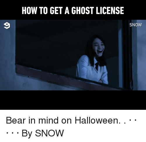 Dank, Halloween, and Bear: HOW TO GET A GHOST LICENSE  SNOW Bear in mind on Halloween. .                                   · · · · · By SNOW
