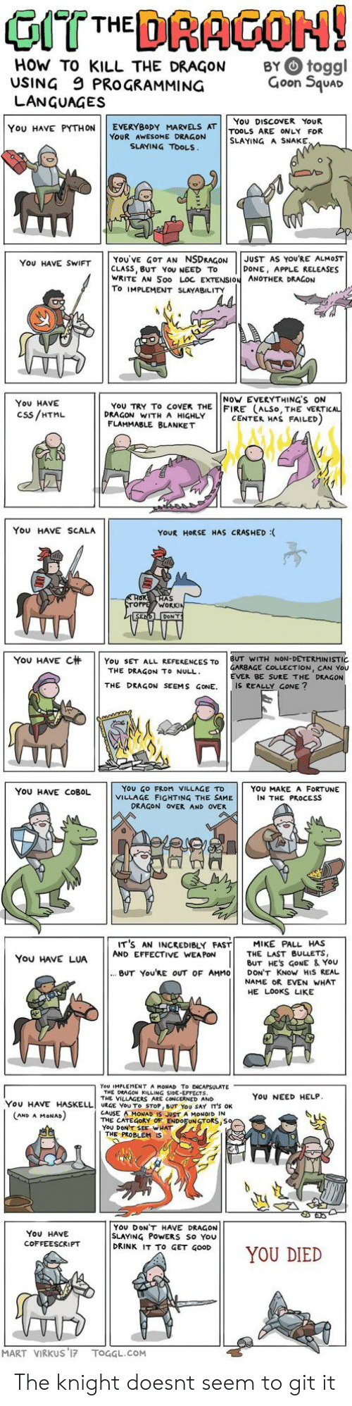 Hes Gone: HOW TO KILL THE DRAGON  USING 9 PROGRAMMING  LANGUAGES  BY O toggl  Goon Squar  You DISCOVER YoUR  YOU HAVE PYTHON | | EVERYBODY MARVELS AT | |TOOLS ARE ONLY FOR  YOUR AWESOME DRAGON  SLAYING A SNAKE  SLAYING TOOLS  YOU'VE GOT AN NSDRAGONJUST AS YOURE ALMOST  CLASS, BUT YoU NEED TO  WRITE AN Soo LOC EXTENSION ANOTHER DRAGON  To IMPLEMENT SLAYABILITY  You HAVE SWIFT  DONE, APPLE RELEASES  NoW EVERYTHING'S ON  You HAVE  Css/HTML  YoU TRY To coVEK THE FIRE (ALSo, THE VERTI  DRAGON WITH A HIGHLY  CENTER HAS FAILED  FLAMMABLE BLANKET  You HAVE SCALA  YOUR HORSE HAS CRASHED :  AS  WORK  YOU HAVE C杄 | | YOU SET ALL REFERENCES TO | BUT WITH NON-DETERMINISTIC  GARBAGE COLLECTION, CAN You  EVER BE SURE THE DRAGON  THE DRAGON TO NULL  THE DRAGON SEEMS GONE. IS REALLY GONE?  YoU GO FRoM VILLAGE TD  VILLAGE FIGHTING THE SAME  YOU HAVE COBOL  YOU MAKE A FORTUNE  IN THE PROCESS  DRAGON OVER AND OVER  IT'S AN INCREDIBLY FAST! MIKE PALL HAS  You HAVE LUAAND EFFECTIVE WANE ES  THE LAST BULLETS,  BUT HES GoNE & YoU  BUT You'RE OUT OF AMMO DON'T KNoW HIS REAL  NAME OR EVEN WHAT  HE LOOKS LIKE  You IMPLEMENT A MONAD To ENCAPSULATE  THE DEAGON KILLING SIDE-EFFECTS  THE VILLAGERS ARE CONCERNED AND  YoU NEED HELP  YOU HAVE HASELLI URGE YOU To STOP, BUT YOU SAY IT'S OK  CAUSE AMONAD IS JUST A MONOID IN  THE CATEGORY OF ENDOFUNSTORS,S  YoU DONT SEE WHAT  AND A MoNAD  THE PROBLEM  YOU DONT HAVE DRAGON  SLAYING PoWERS So You  DRINK IT To GET GOOD  ON11 YOU DIED  You HAVE  COFFEESCRIPT  MART VIRKUS 17 TOGGL.COM The knight doesnt seem to git it