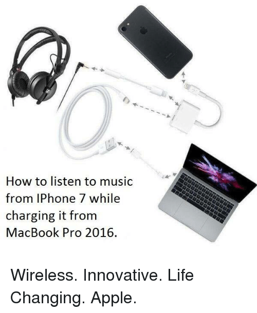 MacBook Pro: How to listen to music  from IPhone 7 while  charging it from  MacBook Pro 2016. Wireless. Innovative. Life Changing. Apple.