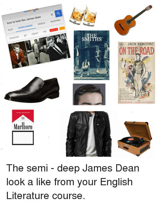 Gif, Shopping, and Starter Packs: how to look like James dean  ALLE AFBEELDINGEN VIDEO'S SHOPPING  TH  SMITHS  nieuwste gif clipart HD  IST  D1619  JACK KEROUAC  ON THE ROAD  This is the  bible of the  beat generation  -the explosive bestseller  that tells all about  today's wild youth  and their frenetic search  for Experience and Sensation.  A SIGNET BOOK  Complete and Unabridged  FILTER CIGARETTES  Marlhoro