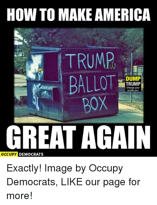 Memes, Image, and Images: HOW TO MAKE AMERICA  TRUMP  DUMP  TRUMP  Change your  file pic!  GREAT AGAIN  OCCUPY DEMOCRATS Exactly!  Image by Occupy Democrats, LIKE our page for more!