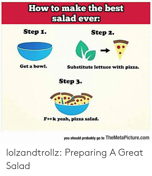Pizza, Tumblr, and Yeah: How to make the best  salad ever  Step i.  Step 2.  Get a bow.  Substitute lettuce with pizza.  Step 3.  F**k yeah, pizza salad.  you should probably go to TheMetaPicture.com lolzandtrollz:  Preparing A Great Salad