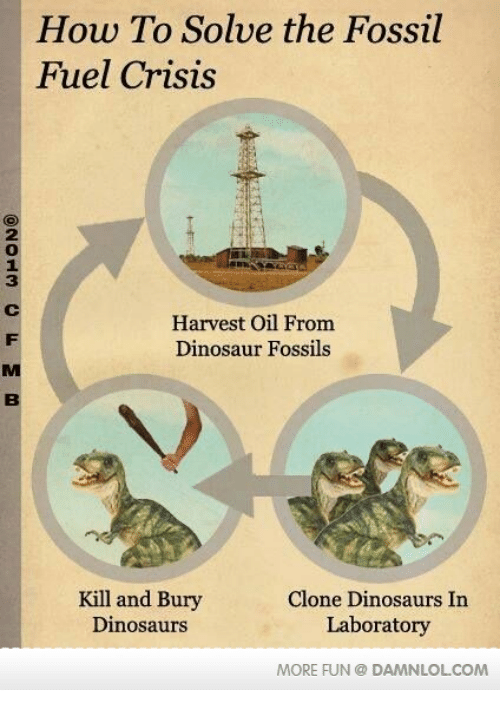 Memes, 🤖, and Fuel: How To Solve the Fossil  Fuel Crisis  Harvest Oil From  Dinosaur Fossils  Kill and Bury  Clone Dinosaurs In  Dinosaurs  Laboratory  MORE FUN DAMANLOLCOM