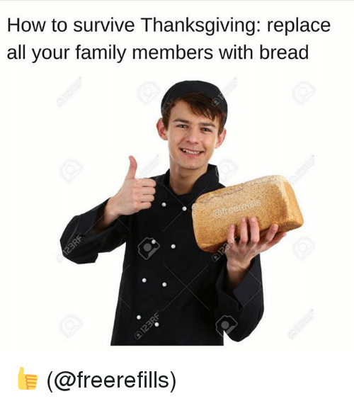 Family, Memes, and Thanksgiving: How to survive Thanksgiving: replace  all your family members with bread 👍 (@freerefills)