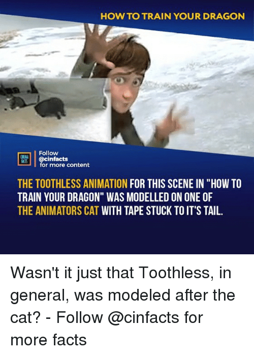 """Facts, Memes, and How To: HOW TO TRAIN YOUR DRAGON  Follow  HEAL  cinfacts  for more content  THE TOOTHLESS ANIMATION FOR THIS SCENE IN """"HOW TO  TRAIN YOUR DRAGON"""" WAS MODELLED ON ONE OF  THE ANIMATORS CAT WITH TAPE STUCK TO IT'S TAIL. Wasn't it just that Toothless, in general, was modeled after the cat?⠀ -⠀ Follow @cinfacts for more facts"""