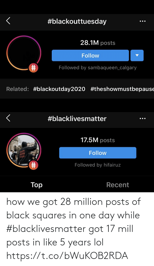 Posts: how we got 28 million posts of black squares in one day while #blacklivesmatter got 17 mill posts in like 5 years lol https://t.co/bWuKOB2RDA
