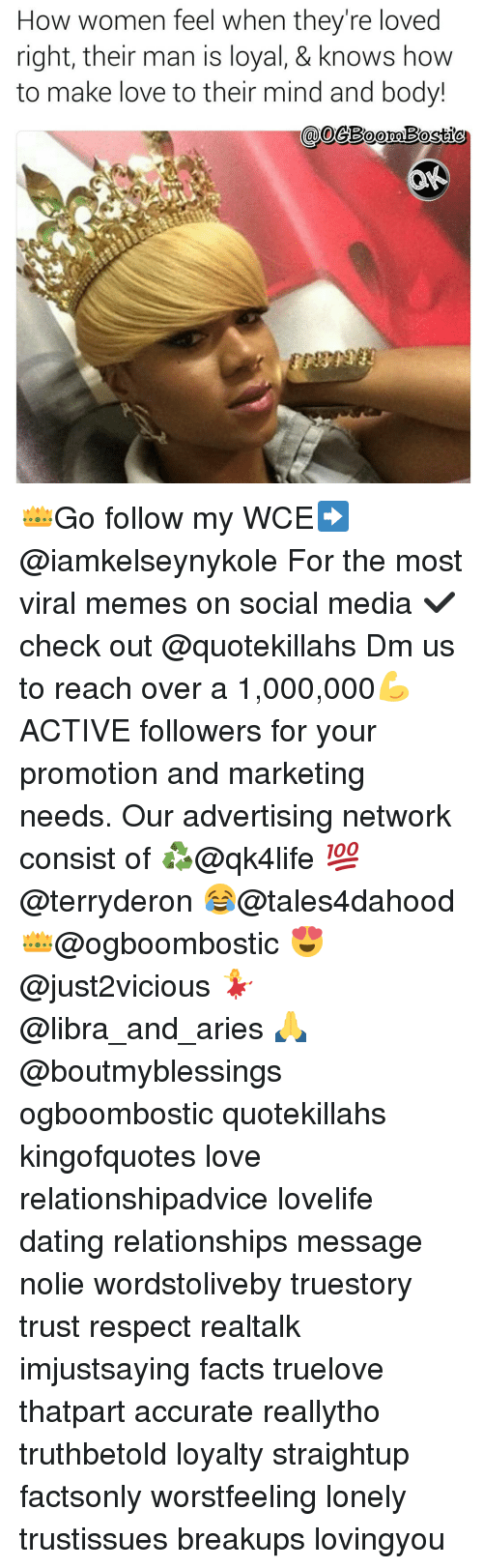 Memes, 🤖, and Making Love: How women feel when they're loved  right, their man is loyal, & knows how  to make love to their mind and body! 👑Go follow my WCE➡@iamkelseynykole For the most viral memes on social media ✔check out @quotekillahs Dm us to reach over a 1,000,000💪ACTIVE followers for your promotion and marketing needs. Our advertising network consist of ♻@qk4life 💯@terryderon 😂@tales4dahood 👑@ogboombostic 😍@just2vicious 💃@libra_and_aries 🙏@boutmyblessings ogboombostic quotekillahs kingofquotes love relationshipadvice lovelife dating relationships message nolie wordstoliveby truestory trust respect realtalk imjustsaying facts truelove thatpart accurate reallytho truthbetold loyalty straightup factsonly worstfeeling lonely trustissues breakups lovingyou