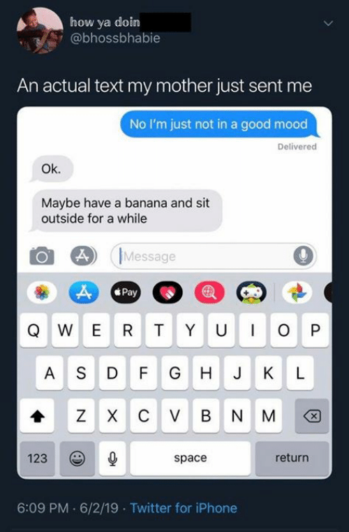Dank, Iphone, and Mood: how ya doin  @bhossbhabie  An actual text my mother just sent me  No I'm just not in a good mood  Delivered  Ok.  Maybe have a banana and sit  outside for a while  Message  Pay  WER TY U  O P  ASD  F G  H J  K  L  C V  B  N M  123  return  space  6:09 PM 6/2/19 Twitter for iPhone  X  X  N