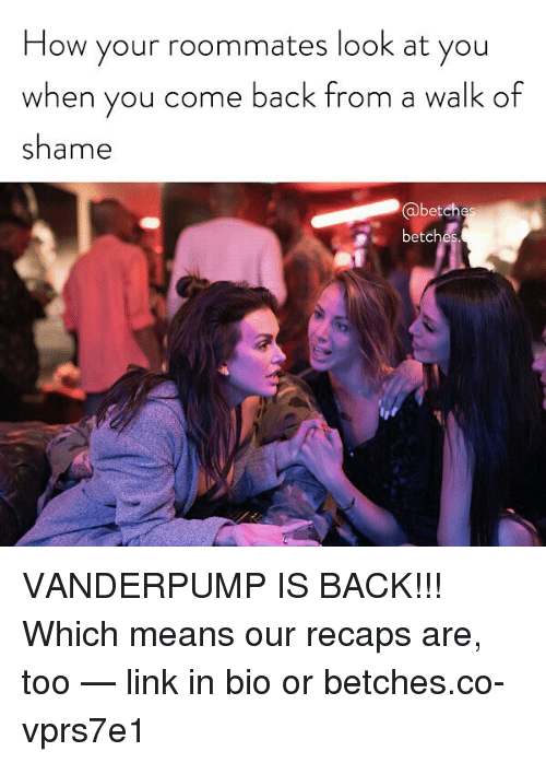 Link, Girl Memes, and Back: How your roommates look at you  when you come back from a walk cf  shame  @betch  betcl VANDERPUMP IS BACK!!! Which means our recaps are, too — link in bio or betches.co-vprs7e1