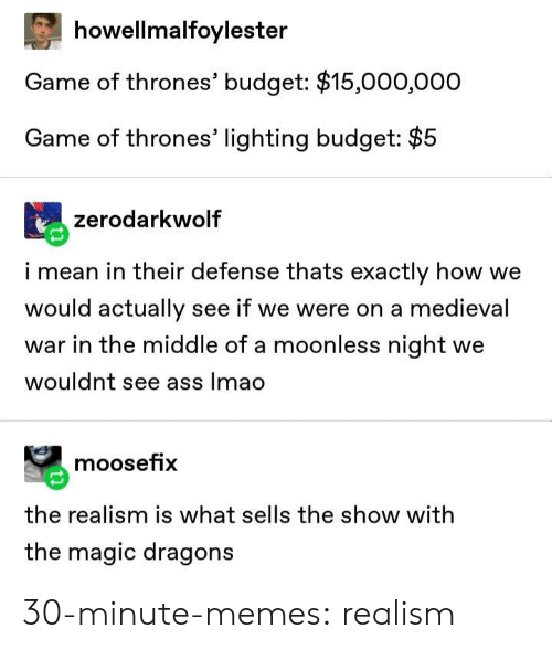 Ass, Game of Thrones, and Lmao: howellmalfoylester  Game of thrones' budget: $15,000,000  Game of thrones' lighting budget: $5  zerodarkwolf  i mean in their defense thats exactly how we  would actually see if we were on a medieval  war in the middle of a moonless night we  wouldnt see ass lmao  moosefix  the realism is what sells the show with  the magic dragons 30-minute-memes:  realism