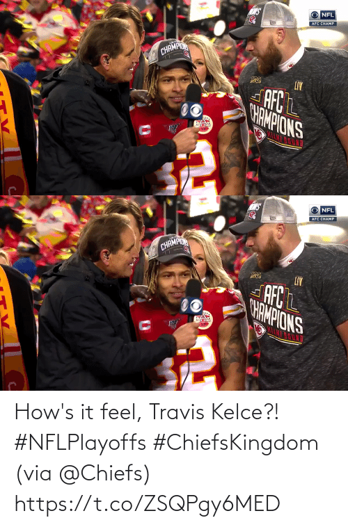 🤖: How's it feel, Travis Kelce?! #NFLPlayoffs #ChiefsKingdom   (via @Chiefs) https://t.co/ZSQPgy6MED