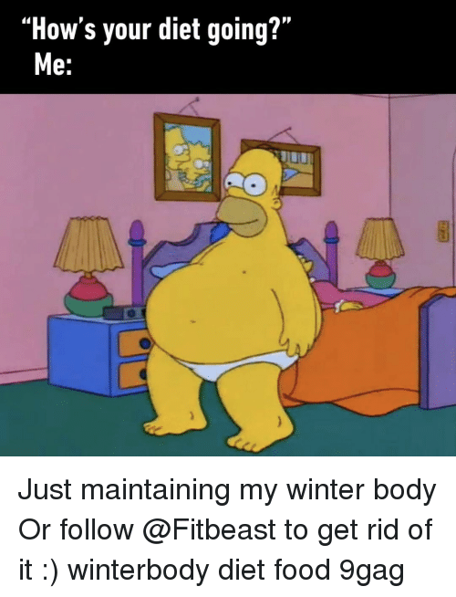 """9gag, Food, and Memes: """"How's your diet going?""""  e. Just maintaining my winter body Or follow @Fitbeast to get rid of it :) winterbody diet food 9gag"""