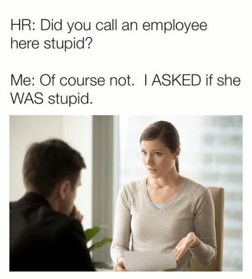 Dank, 🤖, and She: HR: Did you call an employee  here stupid?  Me: Of course not. I ASKED if she  WAS stupid.