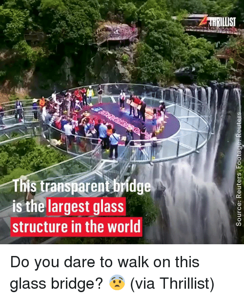 Dank, World, and 🤖: HRILIS  Ths transparenthrldge  is the largest glass  structure in the world  CO Do you dare to walk on this glass bridge? 😨  (via Thrillist)