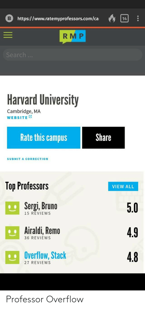 Search: https://www.ratemyprofessors.com/ca  14  RMP  Search..  Harvard University  Cambridge, MA  WEBSITE G  Rate this campus  Share  SUBMIT A CORRECTION  Top Professors  VIEW ALL  U Sergi, Bruno  5.0  15 REVIEWS  .. Airaldi, Remo  4.9  36 REVIEWS  Overflow, Stack  4.8  27 REVIEWS Professor Overflow