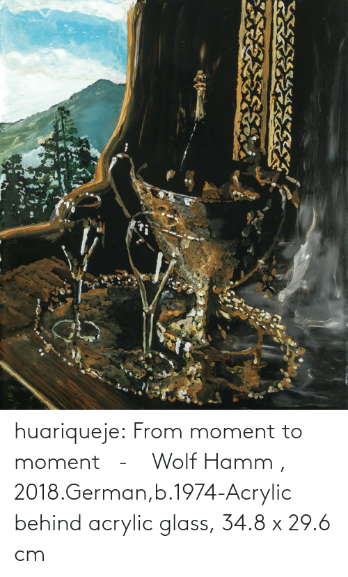 Behind: huariqueje:    From moment to moment   -      Wolf Hamm  , 2018.German,b.1974-Acrylic behind acrylic glass, 34.8 x 29.6 cm