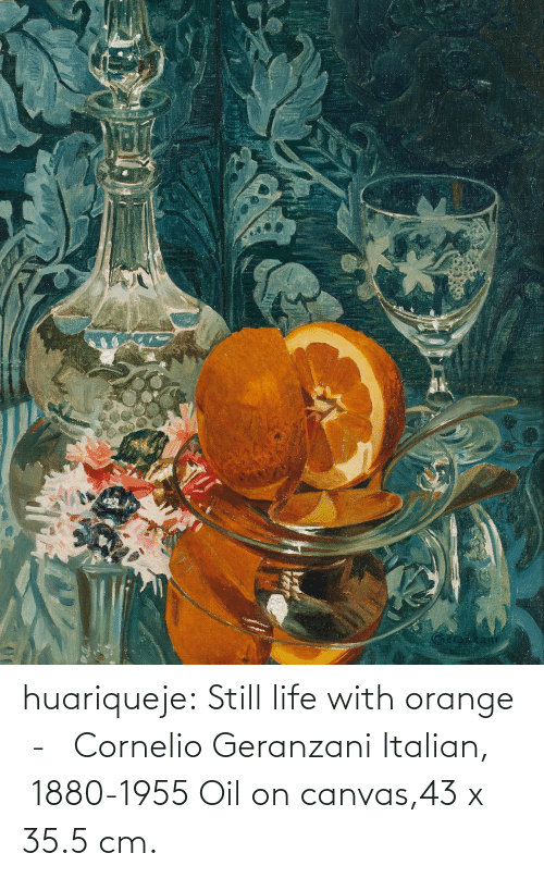 Orange: huariqueje:  Still life with orange  -   Cornelio Geranzani  Italian,  1880-1955 Oil on canvas,43 x 35.5 cm.
