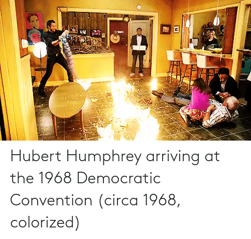 convention: Hubert Humphrey arriving at the 1968 Democratic Convention (circa 1968, colorized)