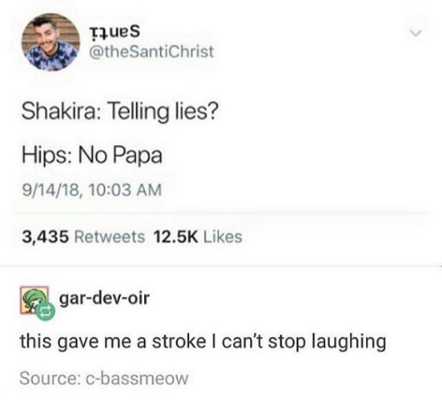 Shakira, Humans of Tumblr, and Stroke: Hues  @theSantiChrist  Shakira: Telling lies?  Hips: No Papa  9/14/18, 10:03 AM  3,435 Retweets 12.5K Likes  gar-dev-oir  this gave me a stroke I can't stop laughing  Source: c-bassmeow