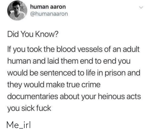 You Sick Fuck: human aaron  @humanaaron  Did You Know?  If you took the blood vessels of an adult  human and laid them end to end you  would be sentenced to life in prison and  they would make true crime  documentaries about your heinous acts  you sick fuck Me_irl
