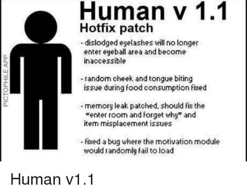 Fail, Food, and Module: Human v 1.1  Hotfix patch  dislodged eyelashes vwill no longer  enter eyeball area and become  inaccessible  0  0  -random cheek and tongue biting  issue during food consumption fixed  0  memory leak patched, should fi the  *enter room and forget why and  itern misplacement issues  fised a bug where the motivation module  would randomly fail to load Human v1.1