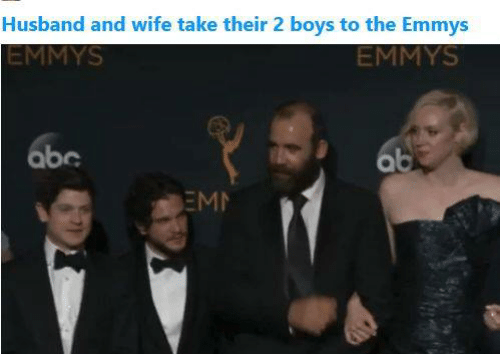 Abc, Game of Thrones, and Husband: Husband and wife take their 2 boys to the Emmys  EMMYS  EMMYS  abc