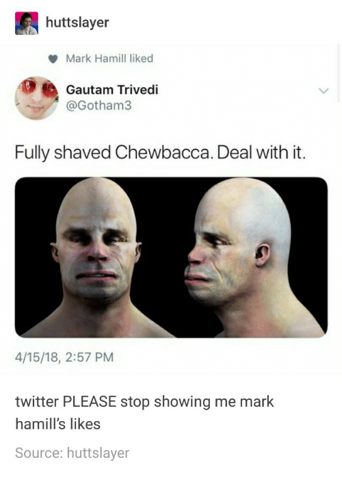 Chewbacca, Mark Hamill, and Twitter: huttslayer  Mark Hamill liked  Gautam Trivedi  @Gotham3  Fully shaved Chewbacca. Deal with it.  4/15/18, 2:57 PM  twitter PLEASE stop showing me mark  hamill's likes  Source: huttslayer