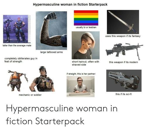 Haircut, Starter Packs, and Lesbian: Hypermasculine woman in fiction Starterpack  usually bi or lesbian  uses this weapon if its fantasy  taller than the average male  large tattooed arms  completely obliterates guy in  feat of strength  short haircut, often with  shaved side  this weapon if its modern  if straight, this is her partner:  this if its sci-fi  mechanic or soldier Hypermasculine woman in fiction Starterpack