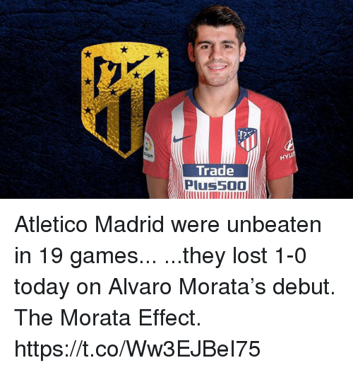 Soccer, Lost, and Games: HYU  Trade  Plus500 Atletico Madrid were unbeaten in 19 games...  ...they lost 1-0 today on Alvaro Morata's debut.  The Morata Effect. https://t.co/Ww3EJBeI75