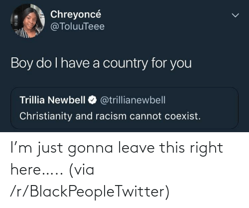 Leave: I'm just gonna leave this right here….. (via /r/BlackPeopleTwitter)