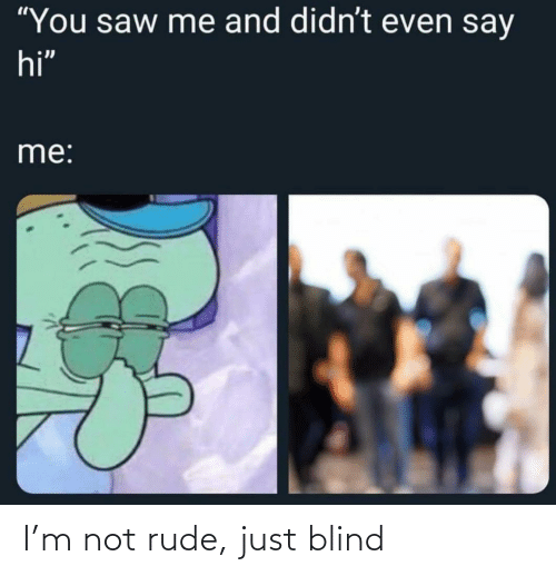 Rude: I'm not rude, just blind