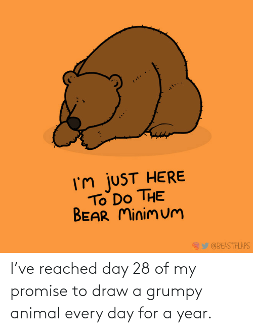 grumpy: I've reached day 28 of my promise to draw a grumpy animal every day for a year.