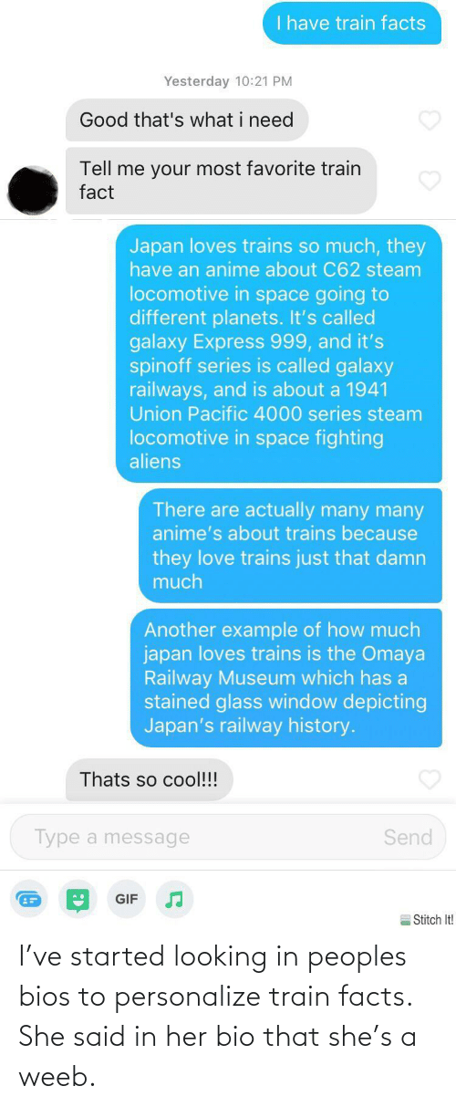 she said: I've started looking in peoples bios to personalize train facts. She said in her bio that she's a weeb.