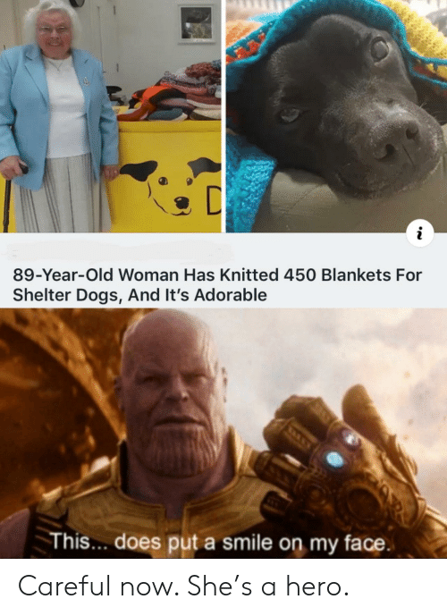 Dogs, Old Woman, and Smile: i  89-Year-Old Woman Has Knitted 450 Blankets For  Shelter Dogs, And It's Adorable  This.. does put a smile on my face Careful now. She's a hero.