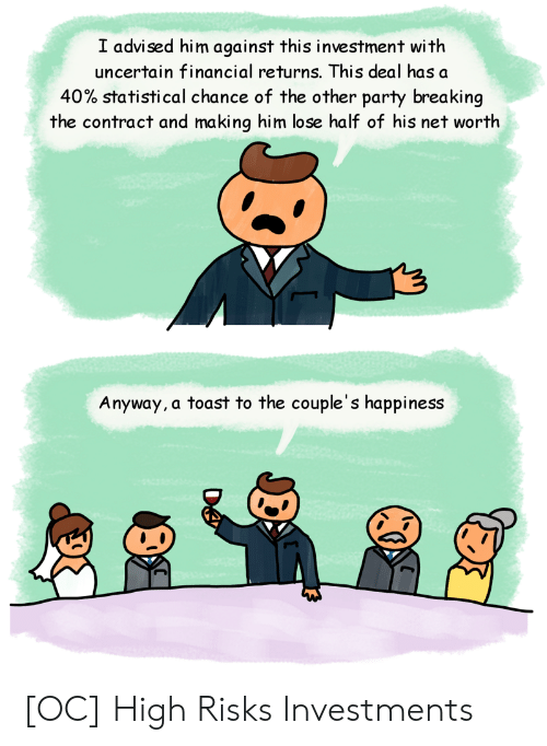 Net Worth: I advised him against this investment with  uncertain financial returns. This deal has a  40% statistical chance of the other party breaking  the contract and making him lose half of his net worth  Anyway, a toast to the couple's happiness [OC] High Risks Investments