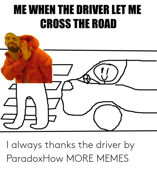 driver: I always thanks the driver by ParadoxHow MORE MEMES