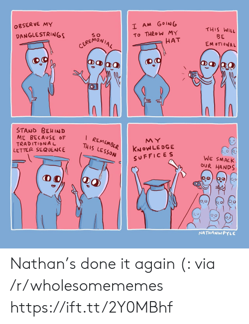 Knowledge, Via, and Will: I AM GOING  OBSERVE MY  THIS WILL  To THROW MY  HAT  DANGLESTRINGS  BE  CEREMONIAL  EM OTIONAL  STAND BEHIND  ME BECAUSE OF  TRADITIONAL  LETTER SEQUENCE  I REMEMGER  THIS LESSON  MY  KNOWLEDGE  SUFFICES  WE SMACK  OUR HANDS  NATHANWPYLE Nathan's done it again (: via /r/wholesomememes https://ift.tt/2Y0MBhf