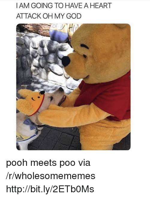 God, Oh My God, and Heart: I AM GOING TO HAVE A HEART  ATTACK OH MY GOD pooh meets poo via /r/wholesomememes http://bit.ly/2ETb0Ms