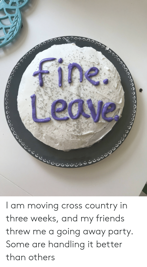 Friends, Party, and Cross: I am moving cross country in three weeks, and my friends threw me a going away party. Some are handling it better than others