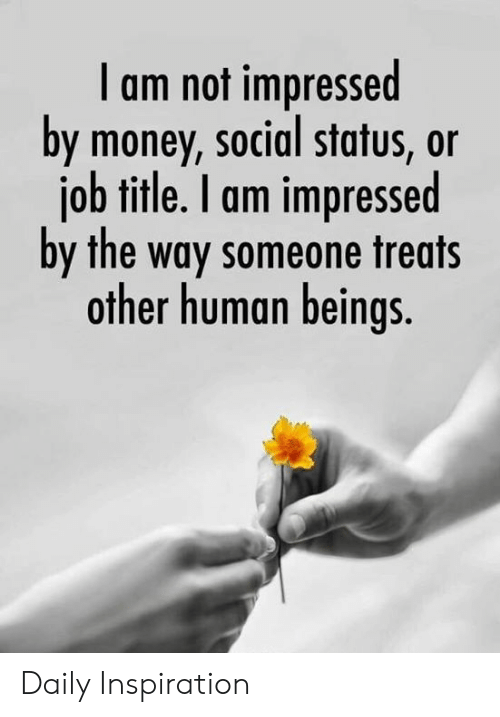 Memes, Money, and Inspiration: I am not impressed  by money, social status, or  job title. I am impressed  by the way someone treats  other human beings. Daily Inspiration