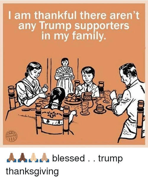 Blessed, Family, and Memes: I am thankful there aren't  any Trump supporters  in my family  Other98 🙏🏾🙏🏿🙏🏼🙏🏽 blessed . . trump thanksgiving